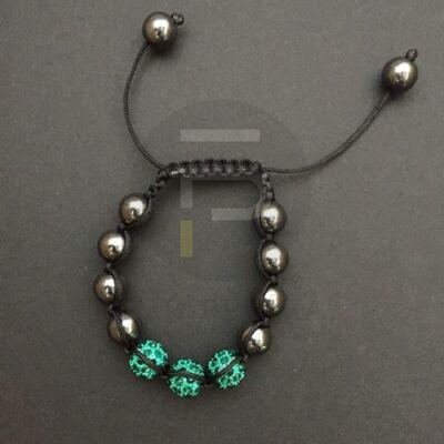 Shamballa karkötő 3 kristály + 8 csakragolyó zöld