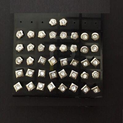 Ezüst bevonatos fülbevaló kövekkel vegyes mintával