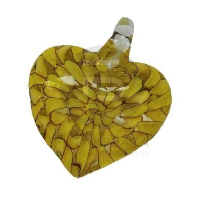 Szív üvegmedál - sárga spirál