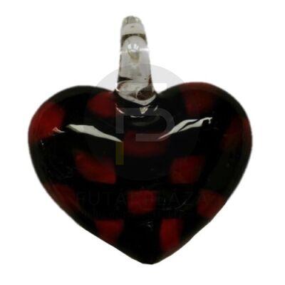 Szív üvegmedál - fekete-piros pöttyös