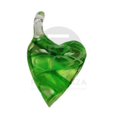 Szív üvegmedál - zöld csíkos