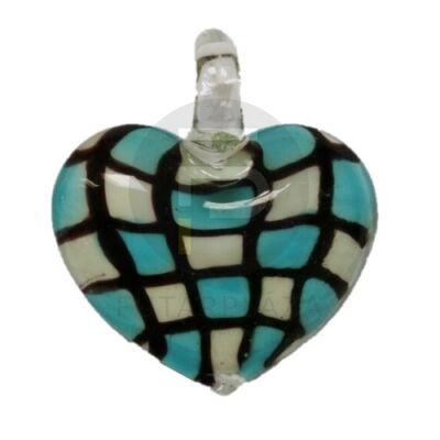 Szív üvegmedál - kék kockás