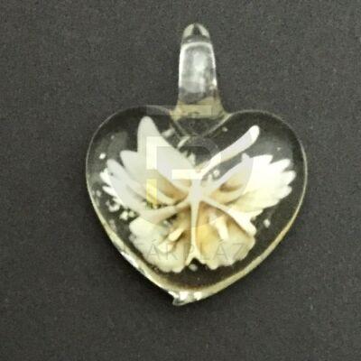 Szív üvegmedál - fehér virágos