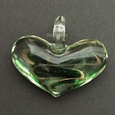 Szív üvegmedál - arany csíkos
