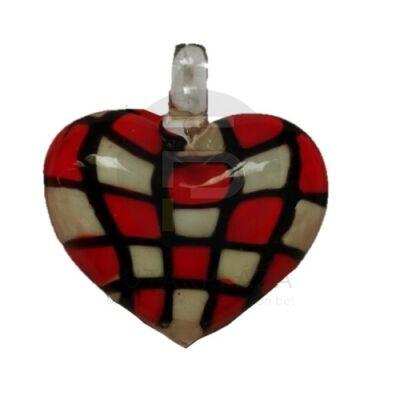 Szív üvegmedál - piros kockás