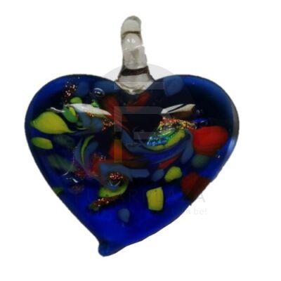 Szív üvegmedál - absztrakt mintával kék