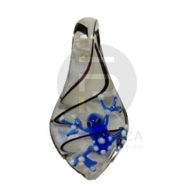 Csepp alakú üvegmedál békával