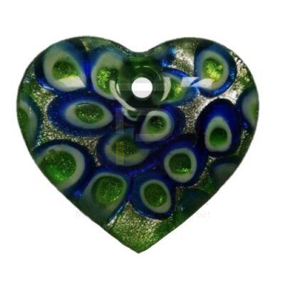 Szív üvegmedál - pávatoll mintával zöld