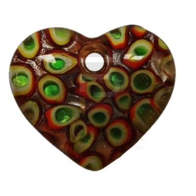 Szív üvegmedál - pávatoll mintával barna