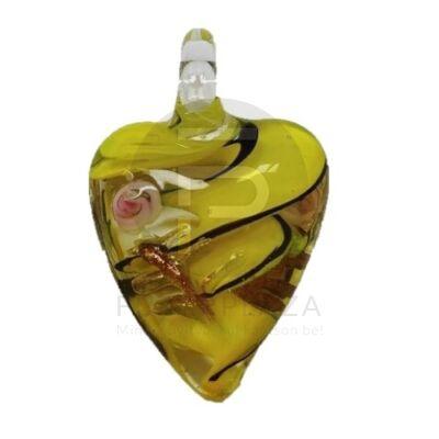 Szív üvegmedál - sárga virágos