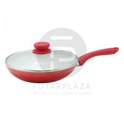 serpenyő üvegfedővel 22cm piros 53095