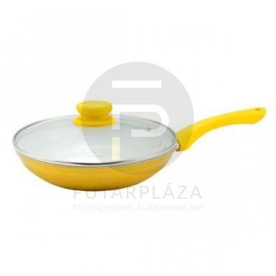 serpenyő üvegfedővel 24cm sárga 15464