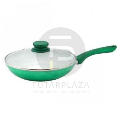 serpenyő üvegfedővel 28cm zöld 15466